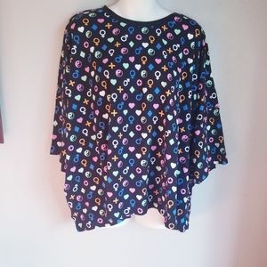 Nwt Asos curve black t shirt with fun peace print